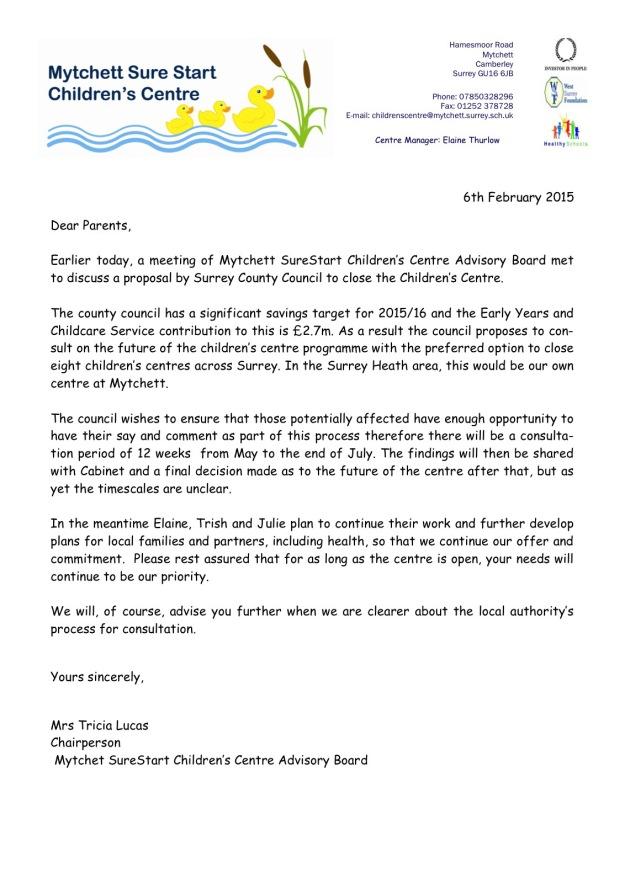 Mytchett Sure Start Letter
