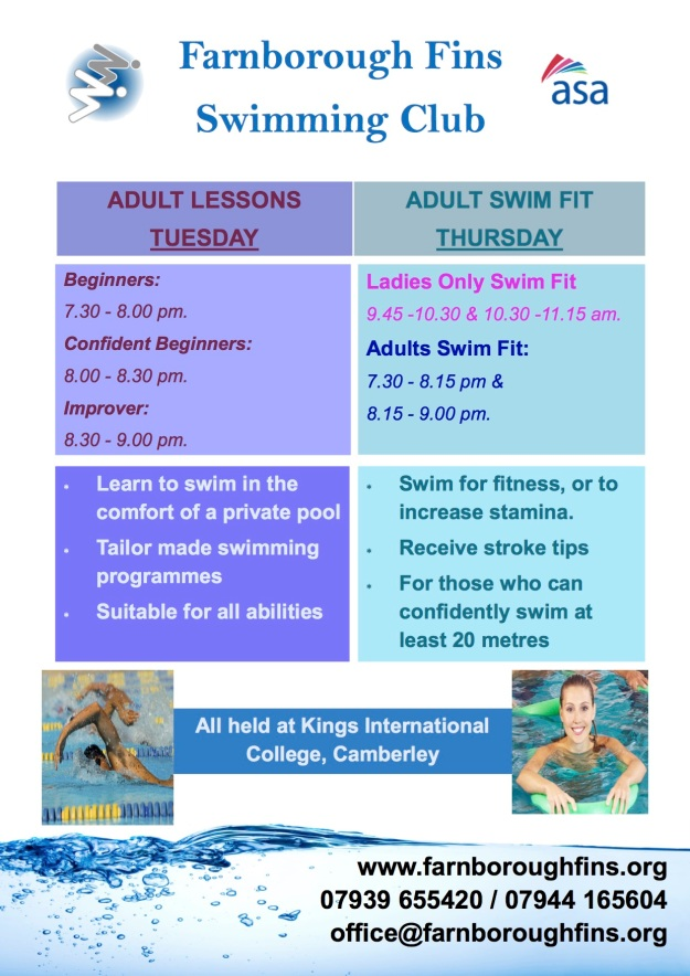 Adult swimming Classes Poster
